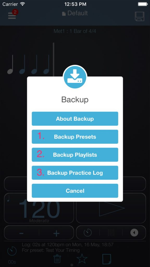 backup menu options