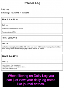 "Filter on ""Daily Log"""